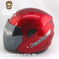 Helm Half Face Gm Icon Solid Royal Red Merah Polos Gloss Glossy Metal - L