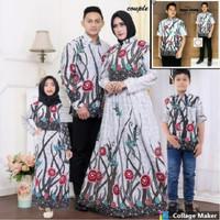 baju muslim couple batik sarimbit gamis keluarga motif ilalang putih