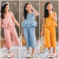 BAJUKIDDIE FAITH SET baju setelan anak perempuan import atasan bawahan - Yellow, Size 150