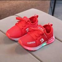 Sepatu Anak LED Sneakers Sporty Impor Red Sepatu Bayi Kids