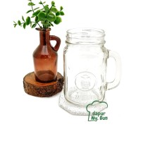 1 Pc Drinking Mug Jar Kaca TANPA Tutup Ukuran 500ml