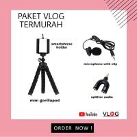 Paket Vlog Murah Mic Clip-On Stand Gorillapod Holder HP Audio Splitter