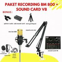 Paket Rekaman BM800 dan Sound Card V8 Home Audio Recording Vlog