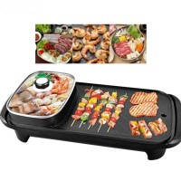 Electric Grill Pan With Shabu Hot Pot Fleco 2 in 1