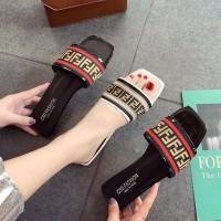 Sendal / Sandal Flat Batik Simple Beauty F F - Hitam, 36