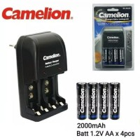 CAMELION CHARGER BATERAI AA 2000MAH - RECHARGEABLE ISI 4PCS BC-0904S
