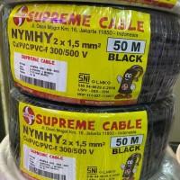 Kabel NYMHY 2x1.5 mm Supreme Hitam Serabut 50 mtr