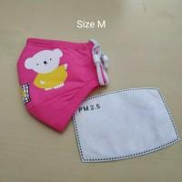 Masker PM 2.5 Anak Incld 1 Pcs Filter Kids Size - Pink Tua