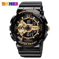 Murah - Jam Tangan Pria Sport Watch SKMEI 1688 Water Resistant 50M - black gold