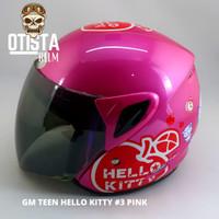 Helm Half Face Gm Teen Hello Kitty #3 Pink Glossy Gloss Polos Metalic - XL