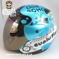 Helm Half Face Gm Evo Note Sea Blue Biru Polos Gloss Glossy Metalic - L