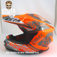 Helm Full Face Gm Cross Mx Se Orange Flo Corak Motif Gloss Glossy - M