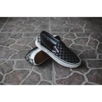 Sepatu Vans Slip ON Classic Checkerboard Black / Pewter