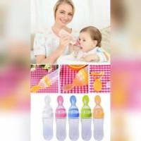 Botol Sendok Makan MPASI Silicone Bayi BPA Free - Merah Muda