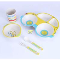 Bamboo Fiber Kids Feeding Set / Peralatan Makan Bayi-anak anak-HS08 - Kuning
