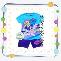 Size 1-10 Setelan Pendek Anak Karakter 3 Little Pony Rainbow Biru - Size 2