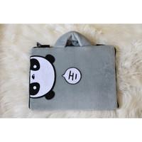 Tas Laptop Panda Hi Abu Tipis 10-17 Inch Softcase Animasi Lucu