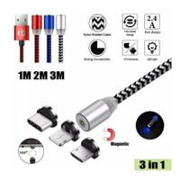 Kabel data charger magnet 3in1 Nylon tali sepatu fast charging murah
