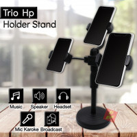 3 in 1 Holder Stand Standing Tripod Handphone Multi Broadcast 3 HP - Hitam