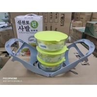 Rantang kaca 3 susun / Rantang kaca korea