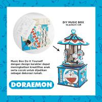 MUSIC BOX DIY CRAFT KOTAK MUSIK KARAKTER DORAEMON & HELLO KITTY KAYU