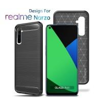 Premium Carbon Case Realme Narzo Black - Soft Case Glass Pro