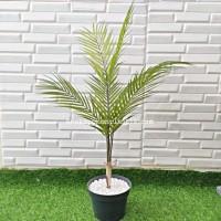 Pohon Daun Palem Lancip Latex Artificial Pot Dasar Hitam Tanaman Rumah