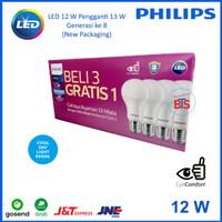 Lampu LED Bulb Philips 12 W Paket 3 free 1
