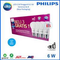 Lampu LED Bulb Philips 6 W Paket 3 free 1 - Putih