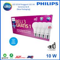 Lampu LED Bulb Philips 10 W Paket 3 free 1