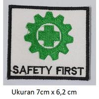 Emblem Bordir Logo K3 Safety First (Ukuran 7cm X 6,2 cm)