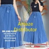 rok plisket jeans premium wanita mode