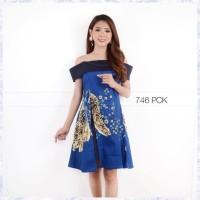 Dress Batik / Batik Premium Cheongsam/ shanghai - Sabrina Navy