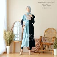 Long Dress Atau Daster Belt Twotone Rayon
