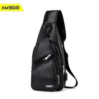 Tas Slempang Ambigo Sling Bag USB Pria Wanita Selempang Anti Air