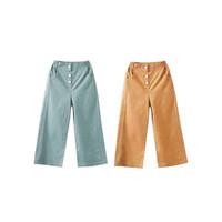 Celana Panjang Kulot Anak Perempuan Bahan Katun usia 6-12 Tahun - MUSTARD, XXL