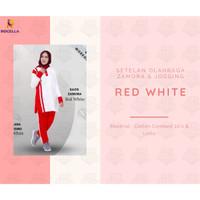 Setelan Olahraga Wanita Zamora & Jogging Muslimah | Setelan Jogging - Red White, S-M