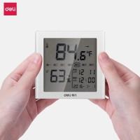 Deli Thermometer Digital dilengkapi jam dan Hygrometer Layar LCD 8813