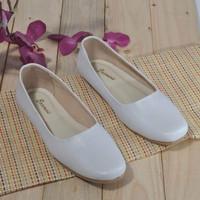 Sepatu flat pantofel putih sepatu kantor perempuan ukuran 35 - 44