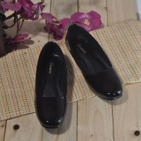 Sepatu flat pantofel hitam kantor perempuan ukuran 35 - 44 TR 003