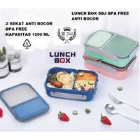 SBJ Lunch Box Kotak Makan Anti Bocor 2sekat BPA Free 1200 ML Vs YOOYEE