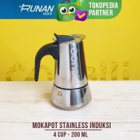 Mokapot Stainless 4 cup Conalli Moka Pot Induksi 200ml Coffee Maker