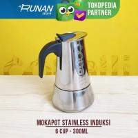 Mokapot Kompor Induksi - Mokapot 6 cup Stainless Conalli 300ml 6cup