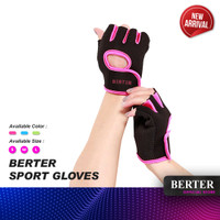 BERTER Sport Gloves Sarung tangan Fitness Gym Sepeda anti-selip - S, Black Blue