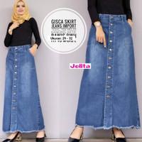 Rok Panjang Gisca Kancing Depan . Rok Jeans Panjang Kancing Depan