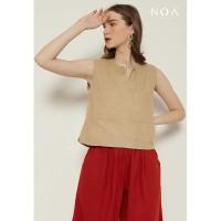 NOA YUKA Crop Top Blouse - Khaki