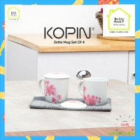 Mug Gelas Couple Kopin Zetta Mug Set Of 4pcs Porcelain lengkap tutup