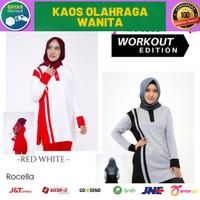 Kaos Olahraga Wanita Lengan Panjang | Atasan Olahraga Wanita Dewasa - Black Grey, S - M