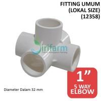 Jirifarm Fitting 5 Arah Paralon Lokal 1 Inch 32mm Import Food Grade Ku