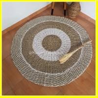 Rug seagrass lurik 120cm / Karpet Bulat motif Natural Lurik Kombinasi